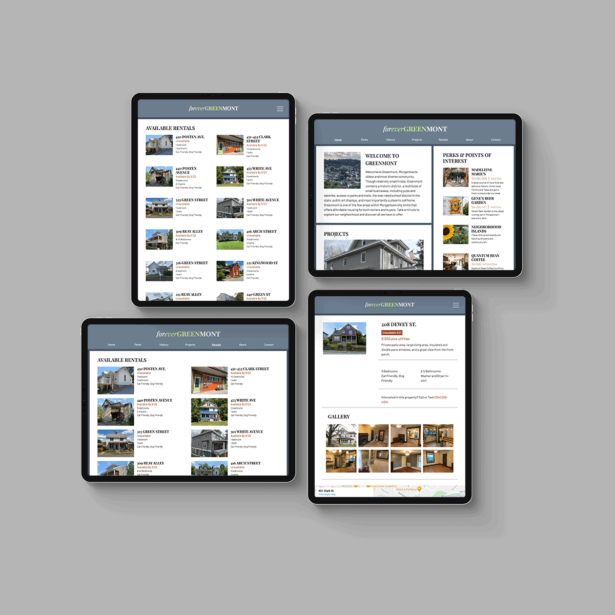 Forever Greenmont website on four different iPad screens