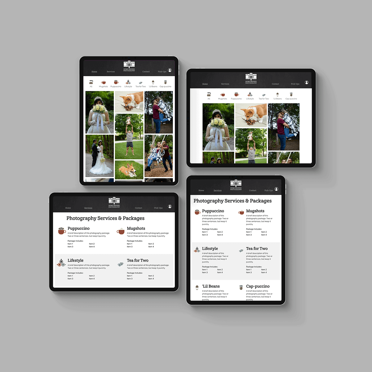 Website mocked up on four different iPad screens