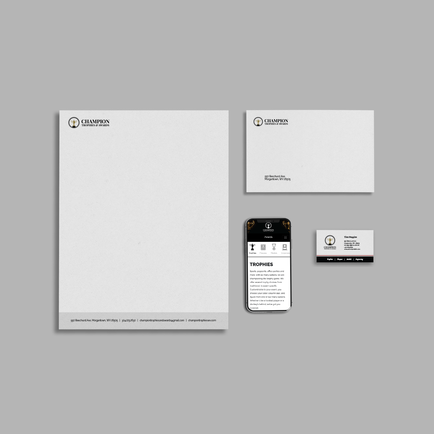Stationary set consisting of a letterhead, envelope, mobile website, and business card