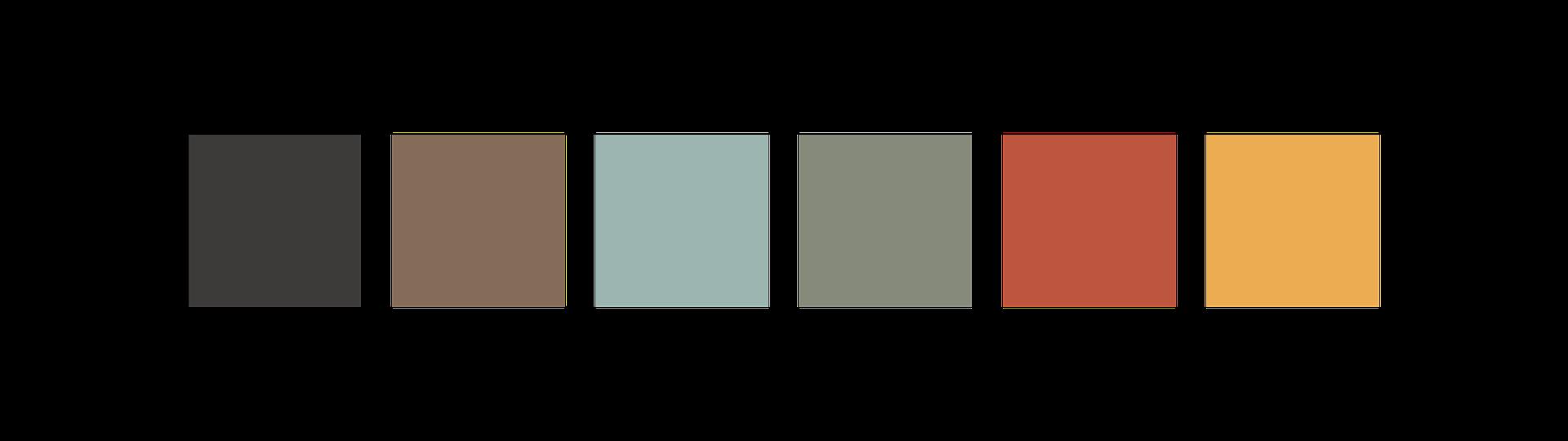 Color Palette: black, brown, light blue, green, orange, yellow