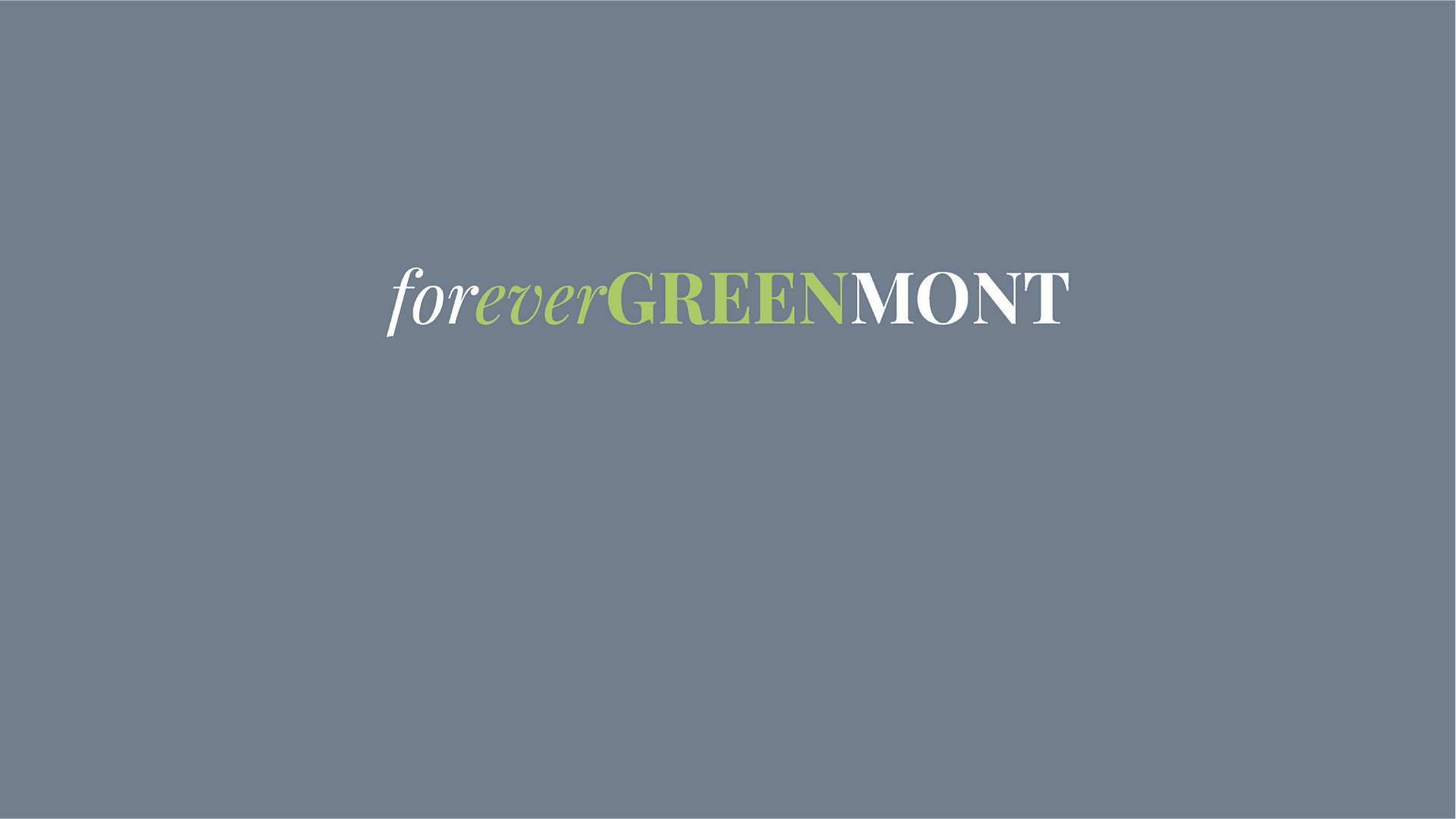 Forever Greenmont logotype on a blue background