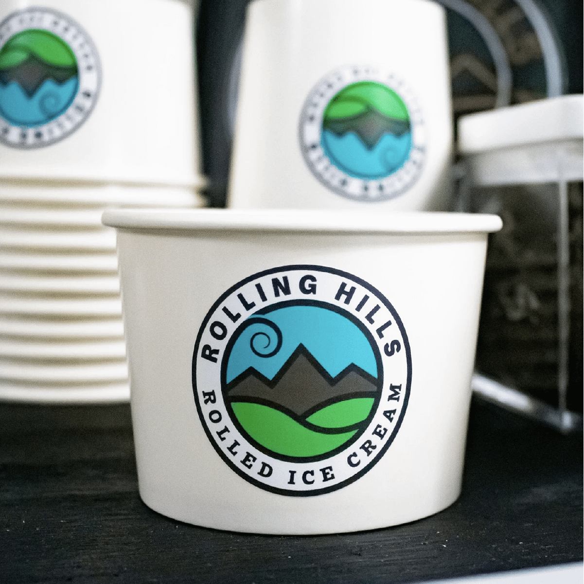 Rolling Hills Rolled Ice Cream logo on ice cream cups