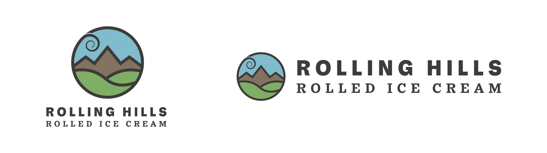 Rolling Hills Rolled Ice Cream business logo and landscape logo