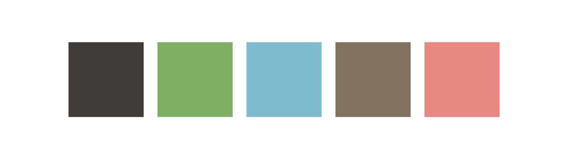 Color Palette: black, green, light blue, brown, pink