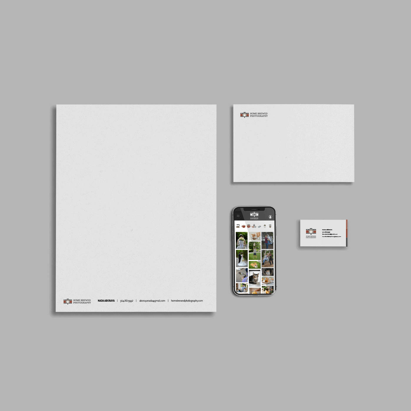 Home Brewed Photography stationary consisting of a letterhead, envelope, mobile website, and business card